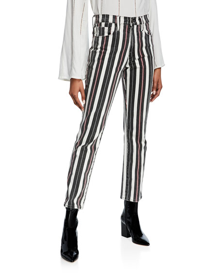 Image 1 of 4: FRAME Le Sylvie Striped High-Rise Cropped Jeans