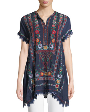 d1bbf1565ff Johnny Was Liesse Short-Sleeve Embroidered Georgette Easy Tunic