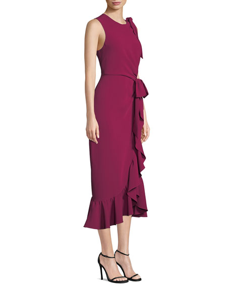 cinq a sept Nanon Crepe Ruffle Sleeveless Cocktail Dress