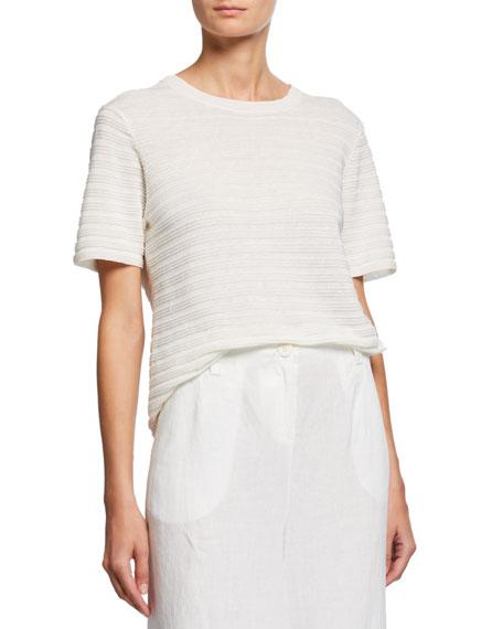 Eileen Fisher Organic Linen & Cotton Crewneck Short-Sleeve