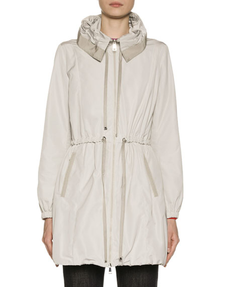 Moncler Topaze Long Self-Tie Top Coat w/ Hood