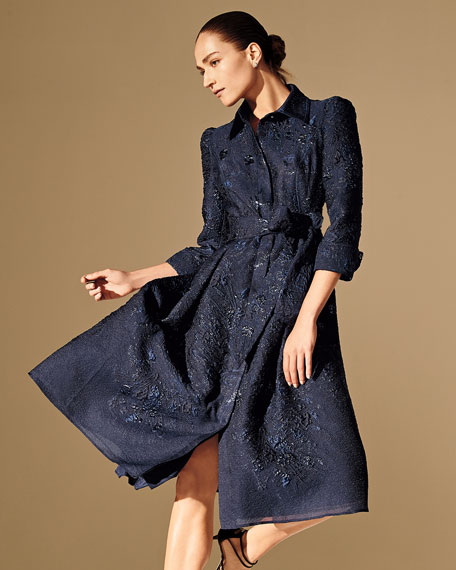 Rickie Freeman for Teri Jon 3/4-Sleeve Burnout Jacquard Shirtdress