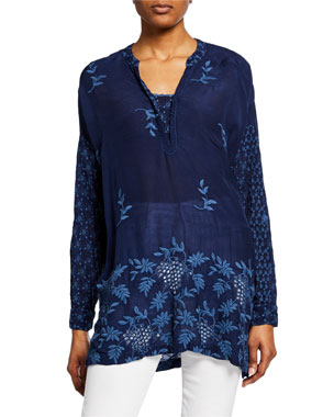 ba9164a9a91 Johnny Was Plus Size Ellie Long-Sleeve Georgette Eyelet & Embroidered Top