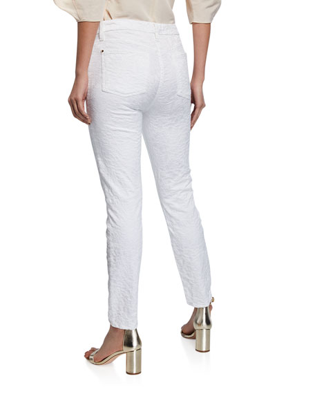 Jen7 by 7 for All Mankind Perforated Jacquard Skinny Ankle Jeans