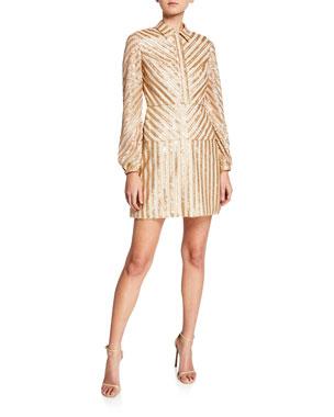 557a4baa Aidan by Aidan Mattox Sequin Stripe Long-Sleeve Cocktail Dress. Favorite. Quick  Look
