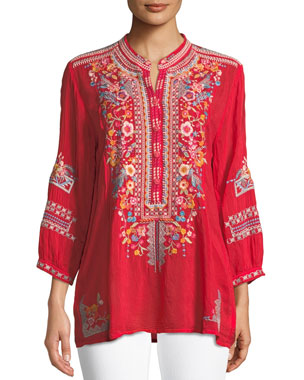 ca50e729298894 Johnny Was Bethanie 3/4-Sleeve Embroidered Tunic