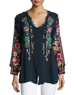 9e77ed36 Johnny Was Peacock Embroidered Georgette Top