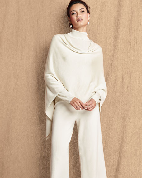 Image 2 of 4: Joan Vass Plus Size Silk-Cashmere Wide-Leg Pants