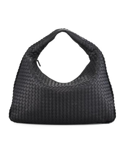 Veneta Intrecciato Large Hobo Bag, Black