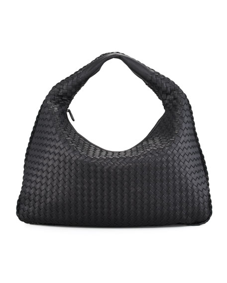Large Veneta Woven Zip Top Hobo Bag, Light Gray, Black