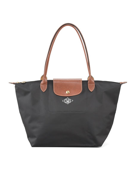 Le Pliage Monogrammed Lg Shoulder Tote Bag, Classic Colors