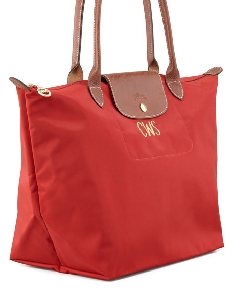 Longchamp Le Pliage Monogrammed Lg Shoulder Tote Bag, Classic Colors