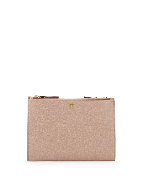 TOM FORD Triple-Zip Crossbody Bag, Nude