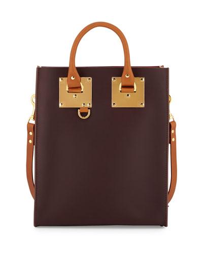 Mini Colorblock Leather Tote Bag, Oxblood/Deep Red/Tan