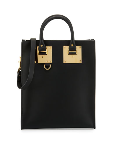Mini Leather Tote Bag, Black