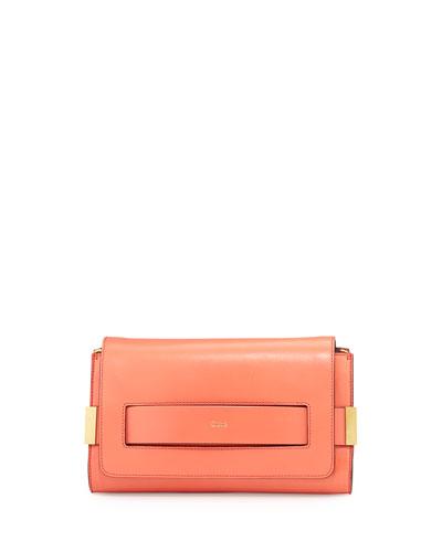 Elle Clutch Bag with Shoulder Strap, Coral