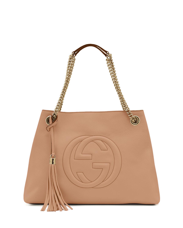 d63e52797f64 Gucci Soho Leather Medium Chain-Strap Tote, Beige | Neiman Marcus