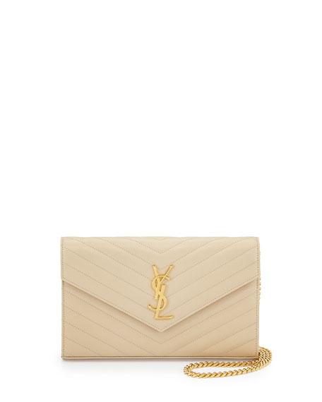 Saint Laurent Monogram Matelassé Medium Wallet-on-Chain, Nude