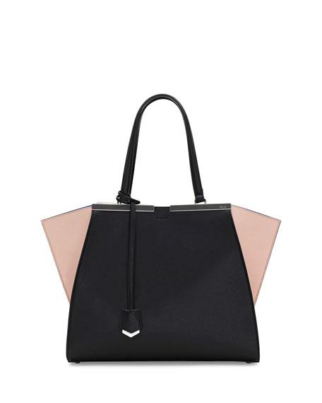 Fendi 3 Jours Mini Tricolor Satchel Bag, Black/Nude/Blue