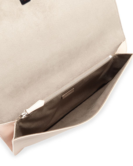 Tube Macro Leather Clutch Bag, Nude