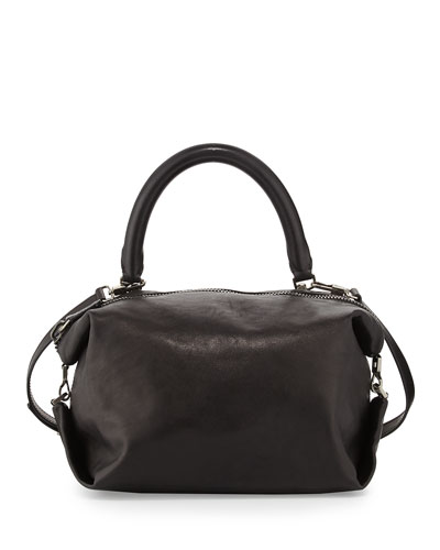 Martin Leather Cube Bag, Black