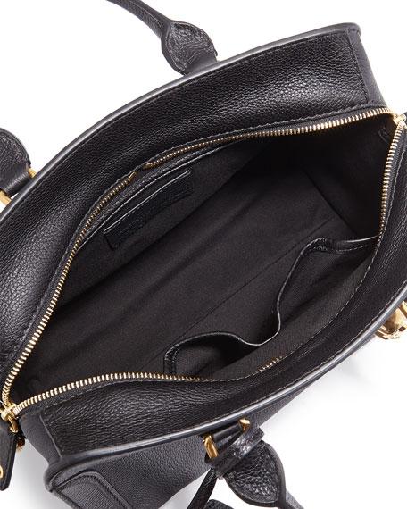 Small Padlock Satchel Bag, Black