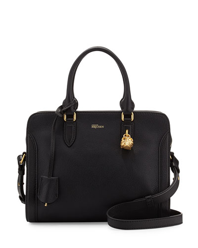 Skull Padlock Small Leather Satchel Bag, Black
