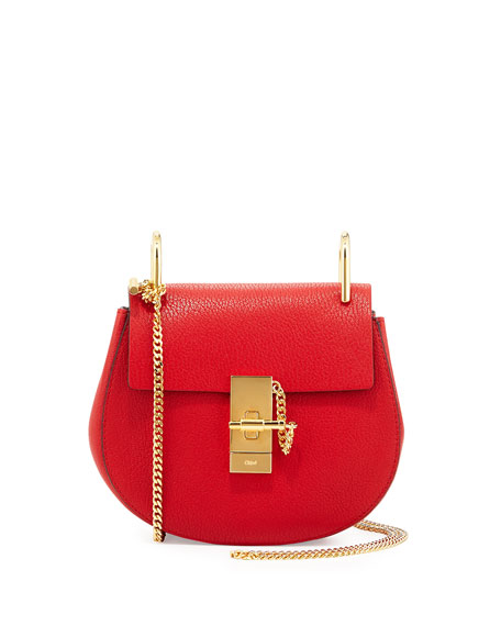 Chloe Drew Mini Chain Shoulder Bag, Red