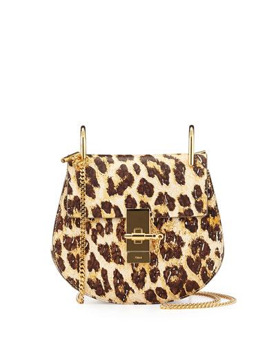 Drew Mini Chain Shoulder Bag, Leopard