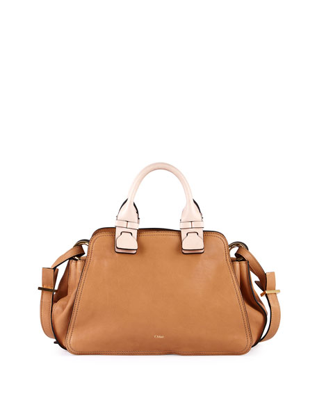 Chloe Fynn Small Double-Handle Satchel Bag, Sand