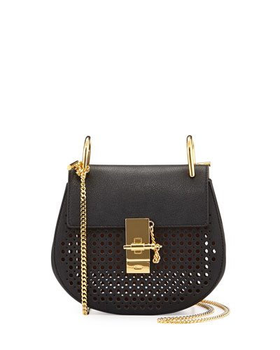 Drew Perforated Mini Shoulder Bag, Black