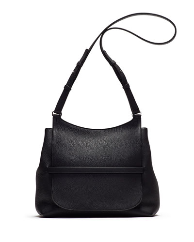 Sideby Pebbled Calfskin Shoulder Bag, Black