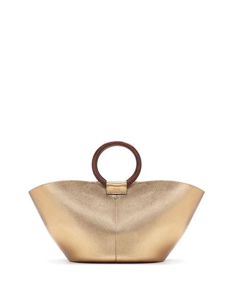 Metallic Leather Market Bag, Gold
