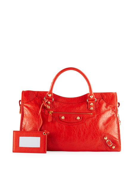 Balenciaga Giant 12 Silver City Bag, Bright Red