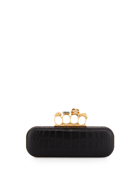 Croc-Embossed Knuckle-Duster Box Clutch Bag