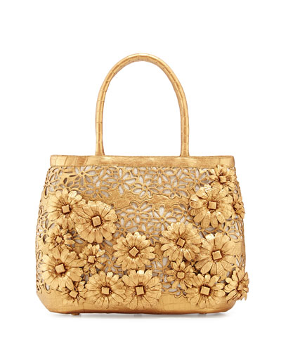Panama Floral-Cutout Straw Basket Tote Bag, Gold Matte