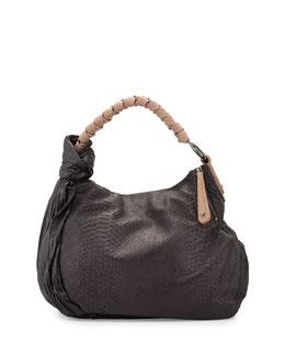 Snake-Embossed Leather Zip Tote Bag, Black/Multi