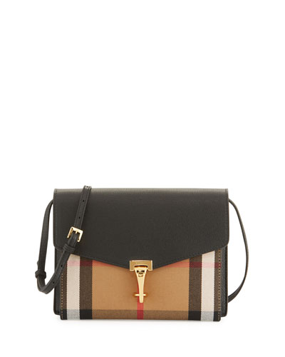 Check & Leather Small Crossbody Bag, Black