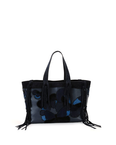 C-Rockee Camu Butterfly Embroidered Fringe Tote Bag
