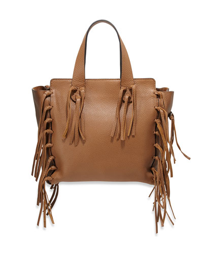 C-Rockee Fringe Shopper Tote Bag, Camel