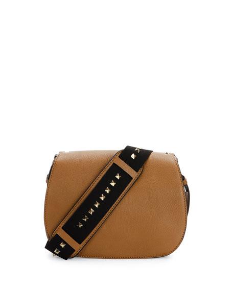 Valentino Band Rockstud Round Messenger Bag, Camel