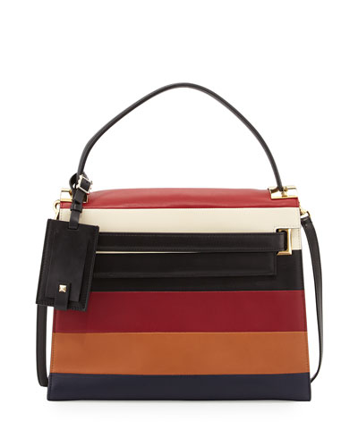 My Rockstud Striped Satchel Bag, Rubin Multi