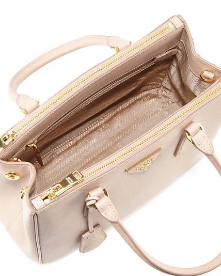 ... hot prada saffiano lux small double zip tote bag blush cammeo neiman  marcus 66e95 71863 f9b647facc633