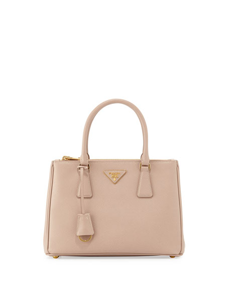 Prada Saffiano Lux Small Double-Zip Tote Bag, Blush