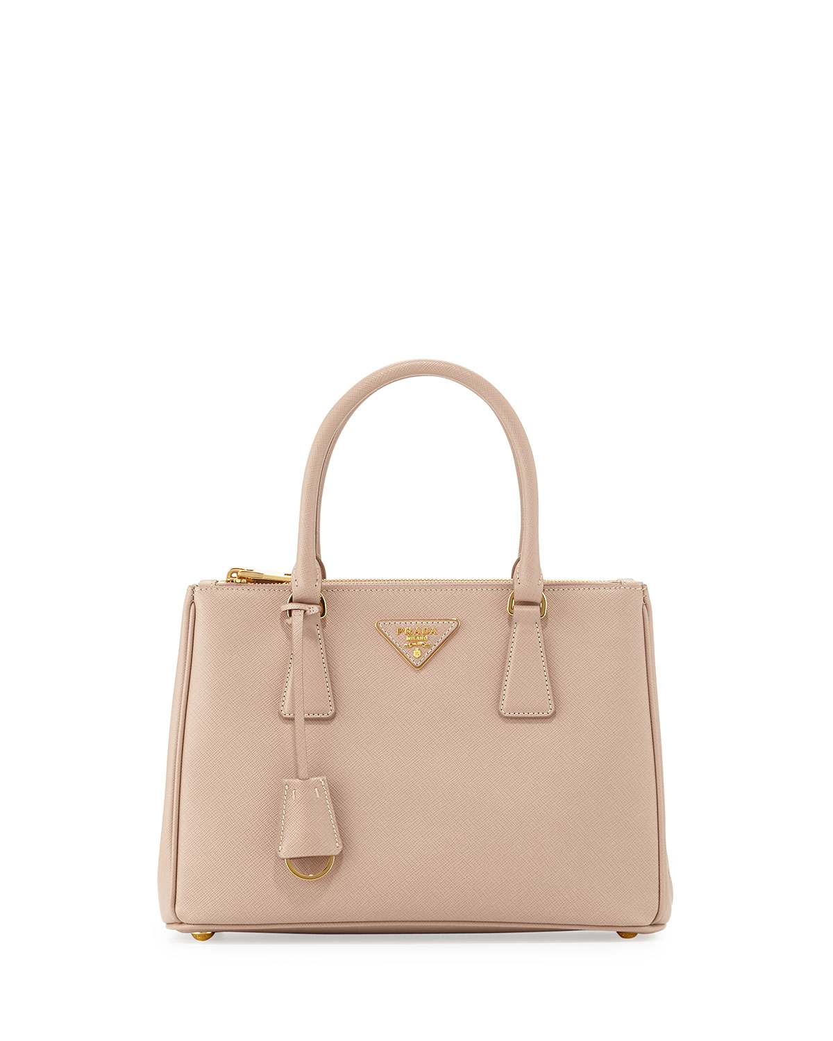 f3265b5bddc4 Prada Saffiano Lux Small Double-Zip Tote Bag, Blush (Cammeo ...
