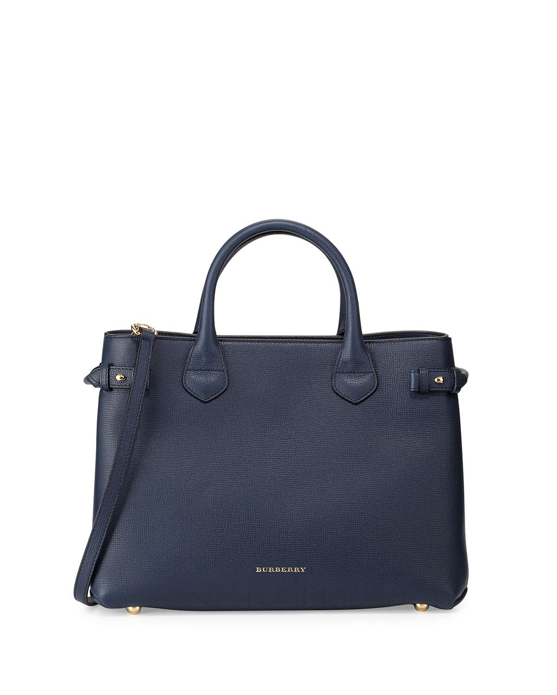 House Check Horseshoe Leather Satchel Bag Ink Blue