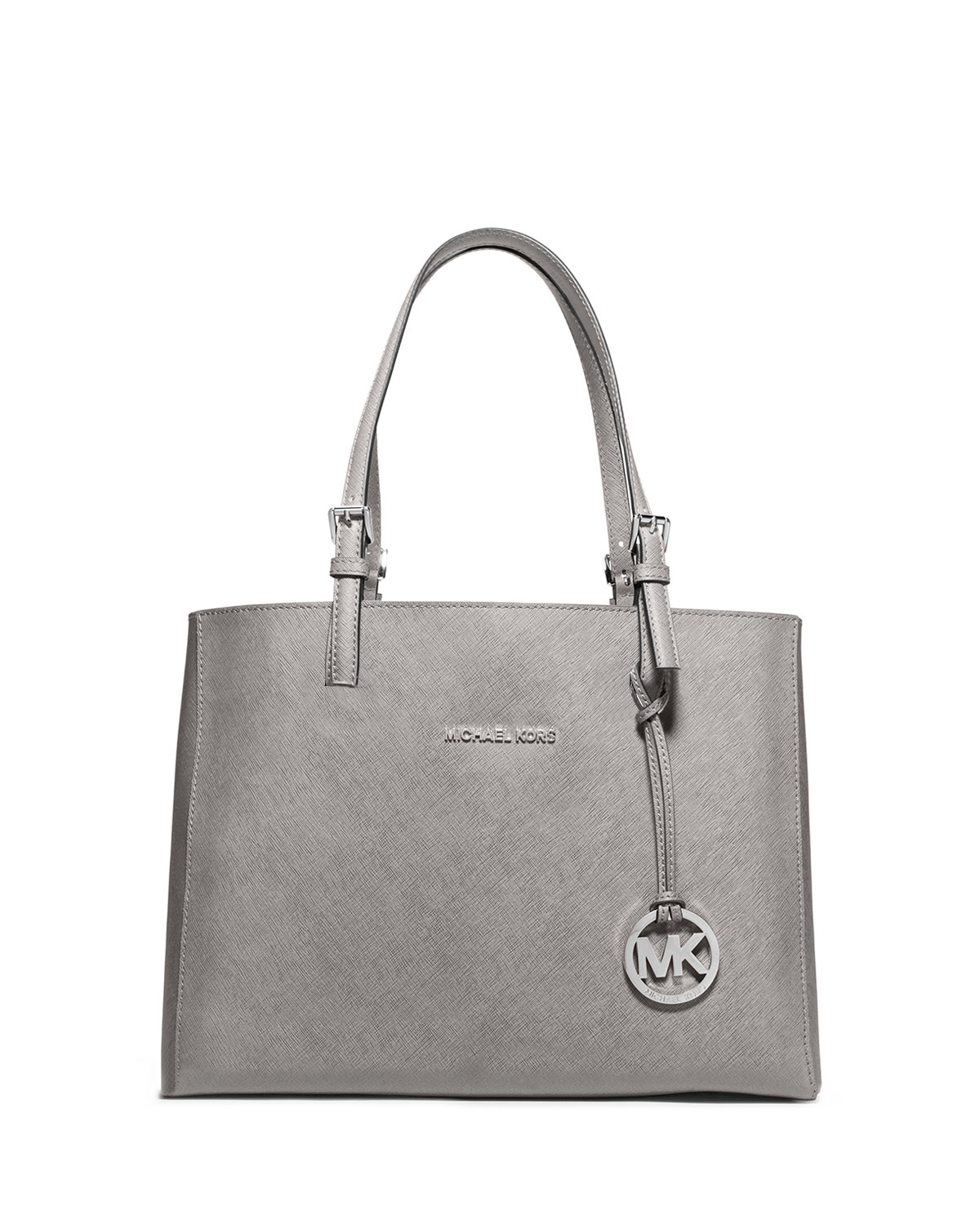 e36026a7f3f2 MICHAEL Michael Kors Jet Set Travel Medium Leather Multifunction Tote Bag, Pearl  Gray