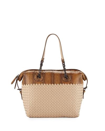 Medium Intrecciato & Snakeskin Satchel Bag, Cream
