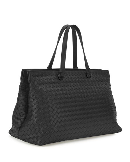 Intrecciato Large Accordion Tote Bag, Black