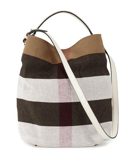 Burberry Ashby Medium Mega Check Bucket Bag, White